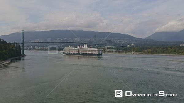 Vancouver BC Canada Panning around harbour landscape with cruise ship and bridge