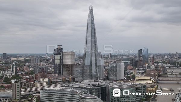 Thames River and London Cityscape Dusk England Drone Video
