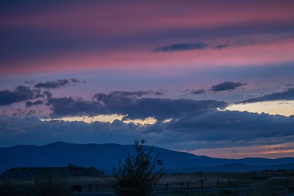 Dramatic vibrant sunset scenery in White Sulphur Springs, Montana