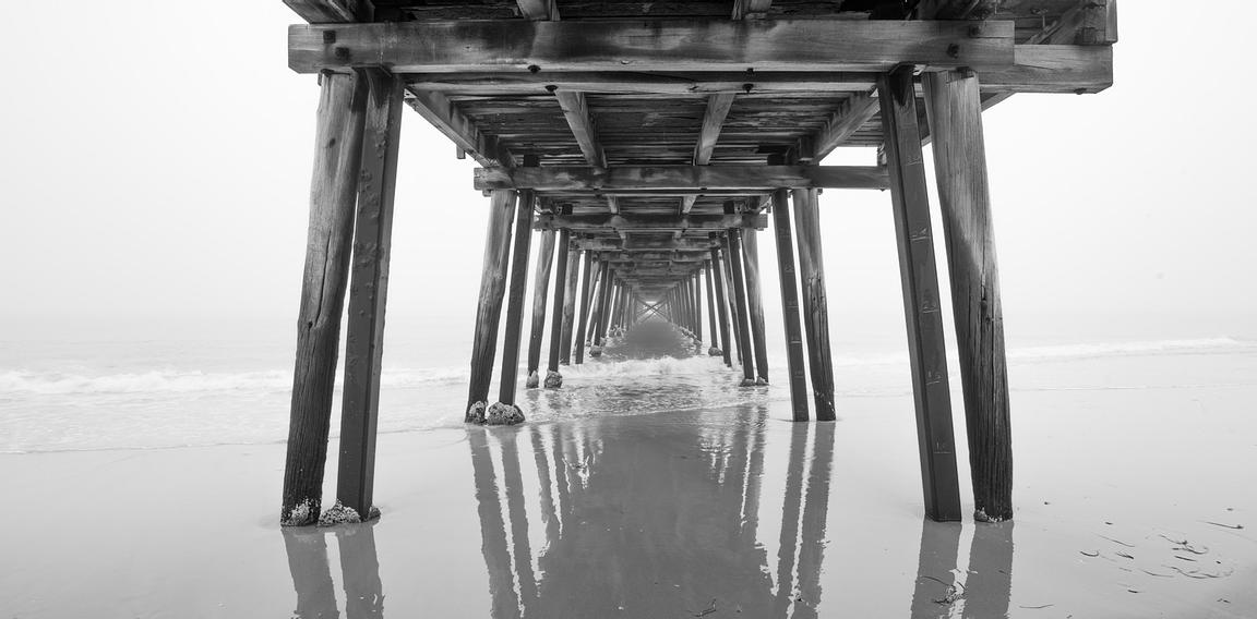 Grange Jetty in Black and White