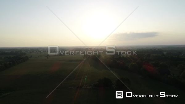 Sunrise Over Rural Kentucky Countryside Drone Video