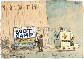 Boot Camp at Bottom of Cliff