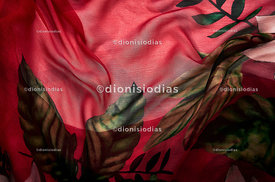 Background texture of green leaf print fabric and red background