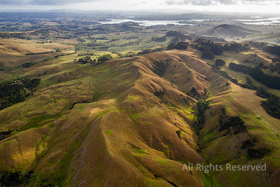 Aerial View on Farmland Early in the Morning at Ruawai Area in Northland, New Zealand. the Landscape Shows an Extension of La...