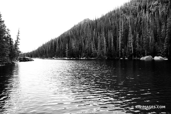DREAM LAKE ROCKY MOUNTAIN NATIONAL PARK COLORADO BLACK AND WHITE