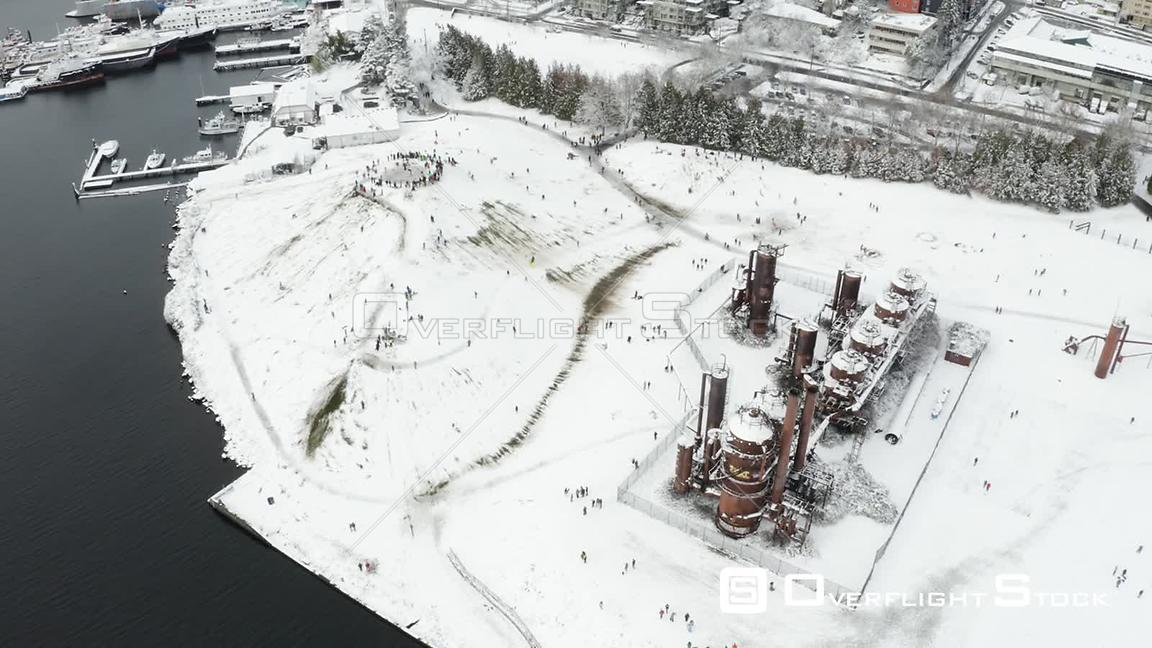 Gasworks Park Seattle on a Snowy Winter Day People Sledding Washington State