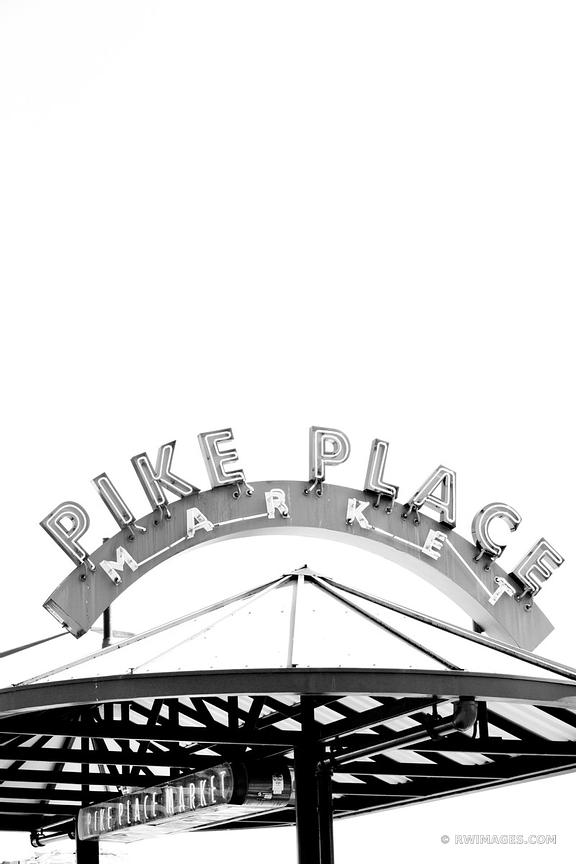 PIKE PLACE MARKET NEON SIGN SEATTLE BLACK AND WHITE VERTICAL