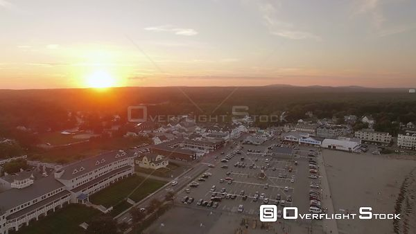 Flying low backwards over York at sunset. York Maine