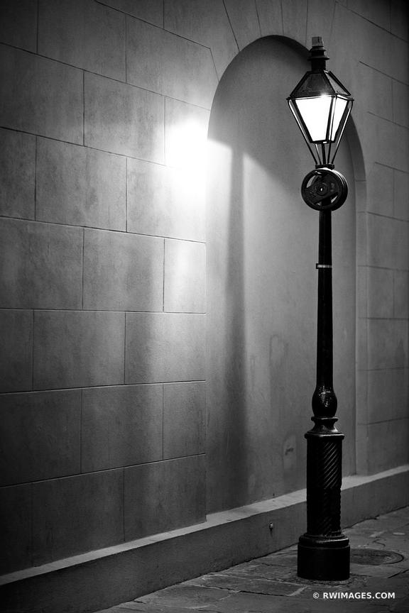 STREET LAMP FRENCH QUARTER NEW ORLEANS LOUISIANA BLACK AND WHITE VERTICAL