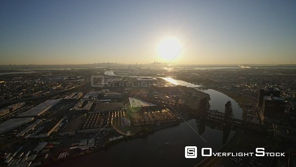 New Jersey Newark Aerial Cityscape Harrison NYC Sunrise
