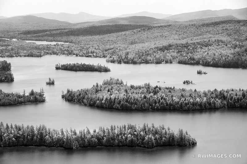 BLUE MOUNTAIN LAKE FROM CASTLE ROCK ADIRONDACK MOUNTAINS BLACK AND WHITE LANDSCAPE