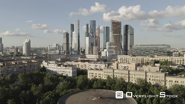 Daylight Forward Flight Towards Moscow Business City Center MBCC. Moscow Russia Drone Video View