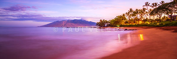 Maui Hawaii Sunrise Ulua Beach Wailea Makena Panorama Photo