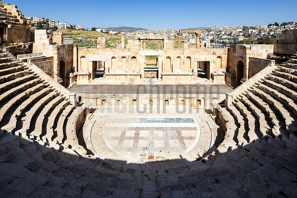 Roman period Northern Theatre of Jerash dating from 165 AD