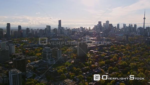 Toronto Ontario Panning cityscape from Downtown skyline to Yorkville