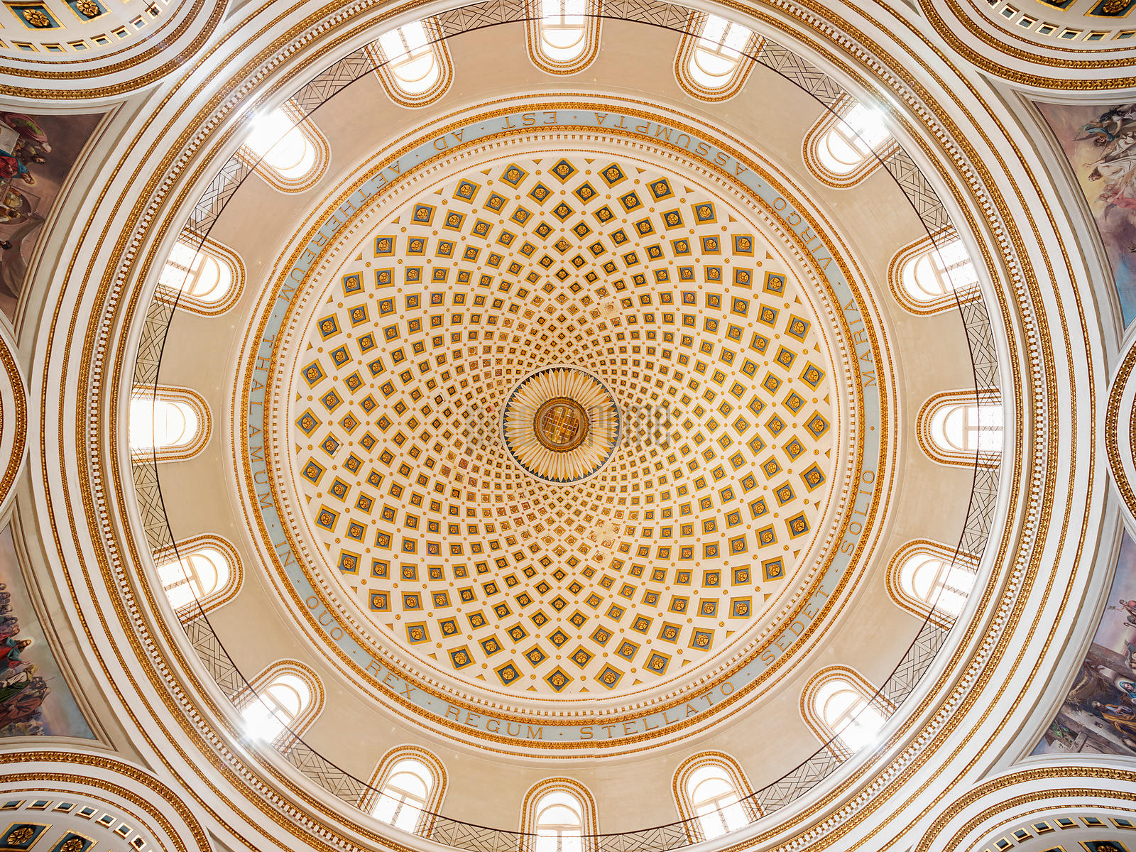 Looking up into the Interior of the Dome of Church of the Assumption of Our Lady