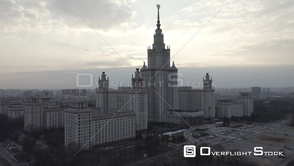 Circle Flight Near Moscow State University. Moscow Russia Drone Video View