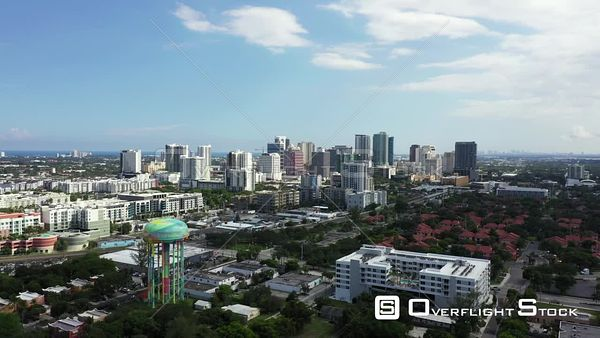 Aerial video approach Downtown Fort Lauderdale FL USA 4k