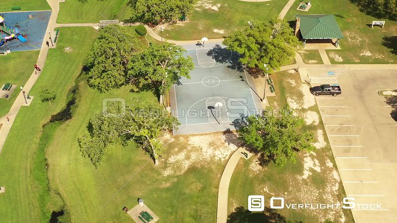 Abandoned Outdoor Basketball Court in a City Park, Bryan, Texas, USA