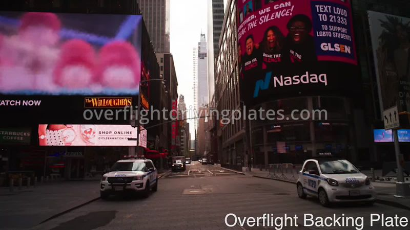 NASDAQ Deserted Streets During Covid-19 Pandemic Time Square Manhattan New York New York USA - BackingPlate Apr 26, 2020