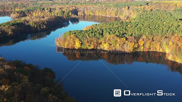Reflections in the Water, Fall Colors in the Trees, Owings Mills, Maryland, USA