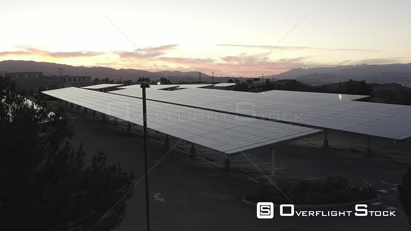 Solar Panels on Parking Garage Drone Aerial View Los Angeles California