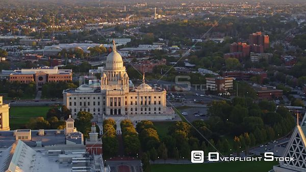 Providence Rhode Island Panning around capitol building at sunrise, close up