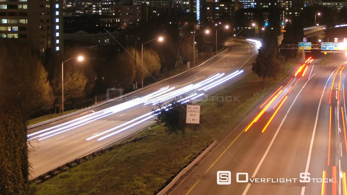 Portland Oregon USA A zoom out time lapse shot of Highway and Portland cityscape