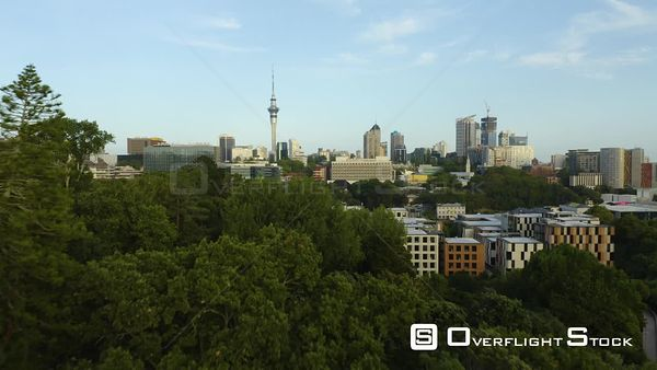 Auckland New Zealand Commuter Rail Station and City Skyline Drone Aerial View