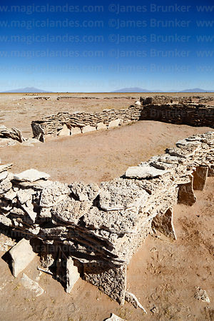 Rectangular corral in a Chipaya community made from flat, sedimentary, stromatolite rocks, Oruro Department, Bolivia