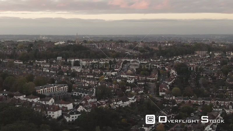 Descending View of Edwardian Village in North London at Sunset England