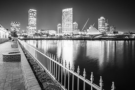 Milwaukee Skyline at Night Black and White Panorama Picture