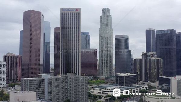 Static Hover Downtown DTLA Cityscape Los Angeles California Drone Aerial View