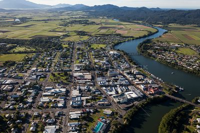 Aerial view of the Innisfail in Queensland Australia.