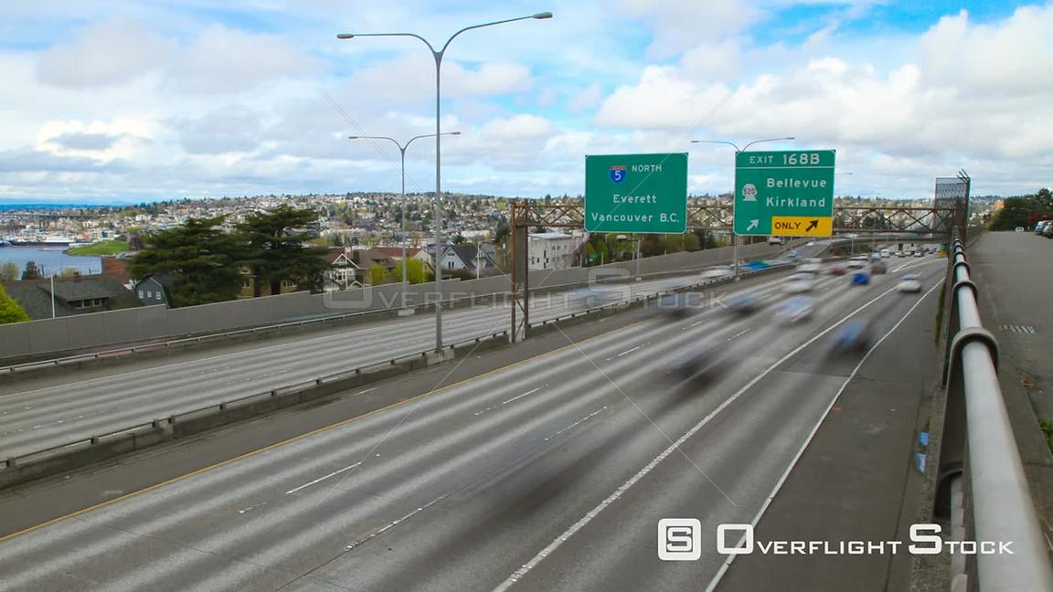 Seattle Washington State USA Time lapse clip of Seattle I5 freeway heading north.