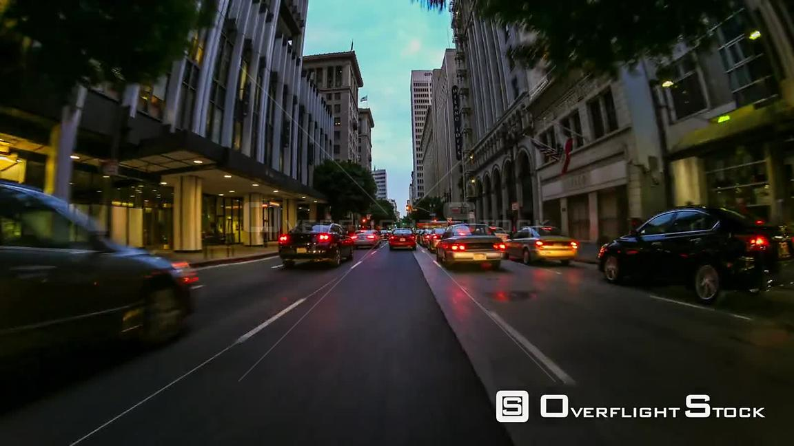 Driving time lapse through downtown Los Angeles California