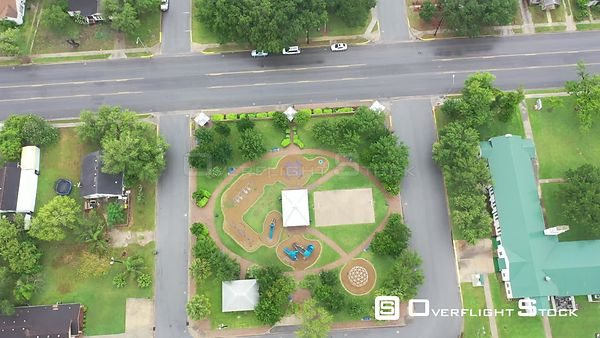 Downward looking flyover of city parks, playgrounds and schools, La Feria, TX, USA