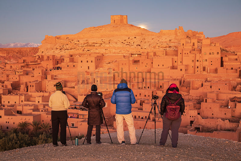 Photographers Waiting for Sunrise at the Ksar of Ait Ben Haddou