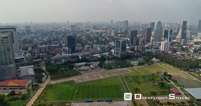Thailand Bangkok Aerial Panning from Royal Palace Guard area to distant cityscape views