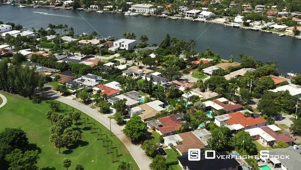 Aerial video residential homes Miami Beach Normandy Isles