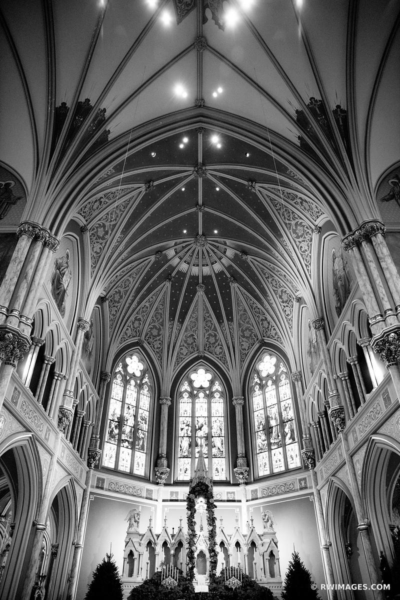 CATHEDRAL OF ST. JOHN THE BAPTIST CHURCH INTERIOR SAVANNAH GEORGIA BLACK AND WHITE