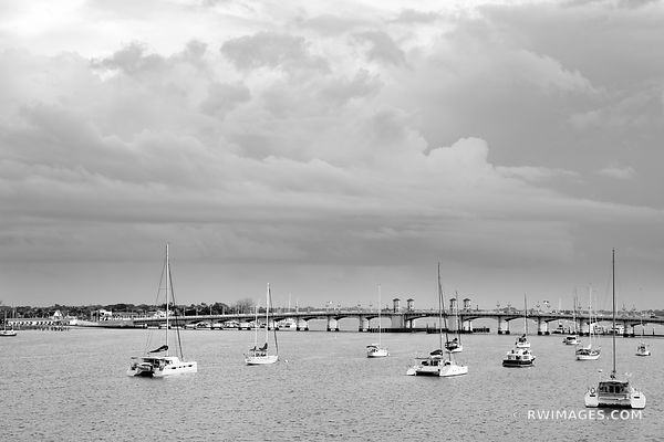 SAILBOATS MATANZAS RIVER BRIDGE OF LIONS ST. AUGUSTINE FLORIDA BLACK AND WHITE