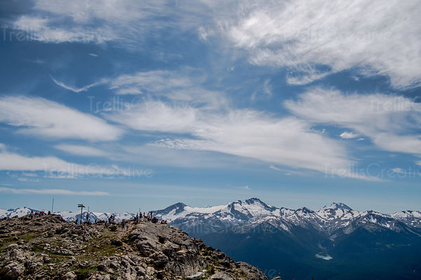 Tourists at viewpoint, Blackcomb Mountain, Whistler, Canada.