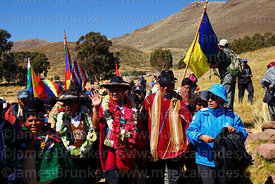 Bolivian president Evo Morales Ayma (centre) waves to spectators as he leads an International Hike along a section of the Qha...