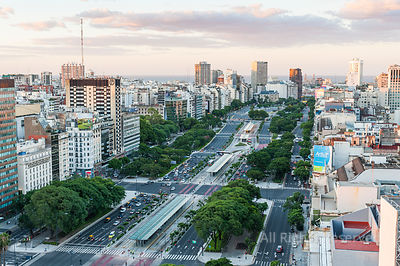 Aerial View on Avenida 9 De Julio in Centre City of Buenos Aires at Sunset, Argentina