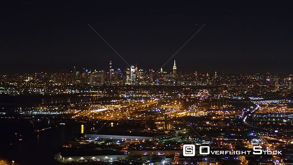 New Jersey Newark Aerial NYC Cityscape Night