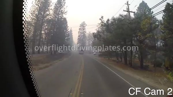 Camp Fire Post Fire Smoke  Paradise California USA - Center Front View Driving Plate Cam18 Feb 15, 2019