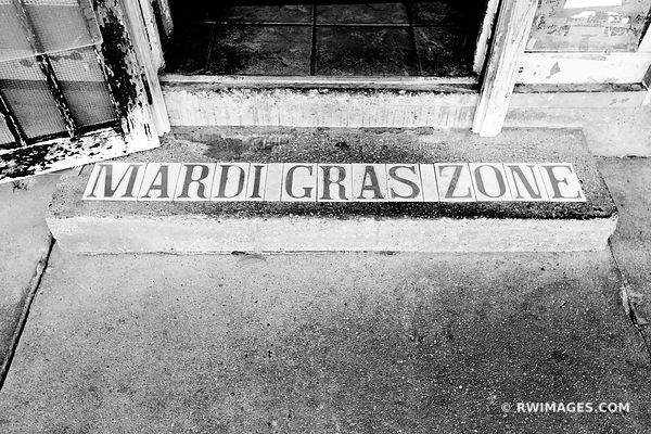 MARDI GRAS ZONE TILE SIGN MARIGNY DISTRICT NEW ORLEANS LOUISIANA BLACK AND WHITE