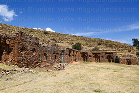 South (L) and west (R) walls of Inca temple of Iñak Uyu, Moon Island, Lake Titicaca, Bolivia