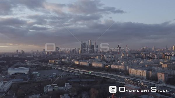 Sunset Sideway Flight Over the Third Circle Road, With Moscow Cityscape. Moscow Russia Drone Video View